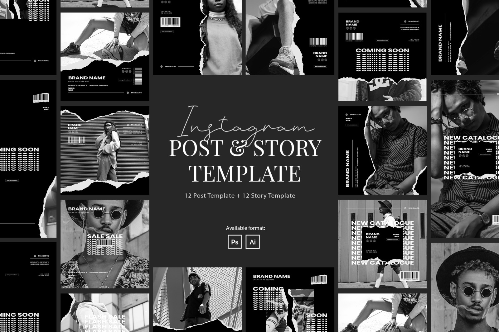 Urban Monochrome Instagram Post and Story Template