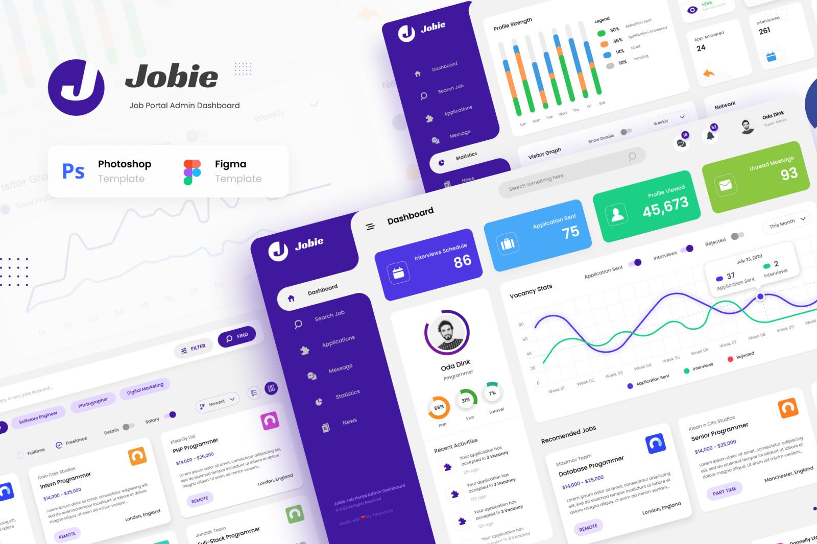 Jobie Admin - Portal Dashboard UI Template