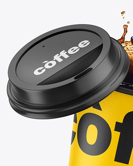 Matte Coffee Cup w/ Splash Mockup