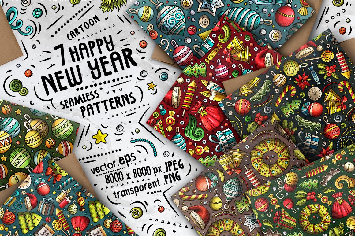 7 New Year Cartoon Seamless Patterns