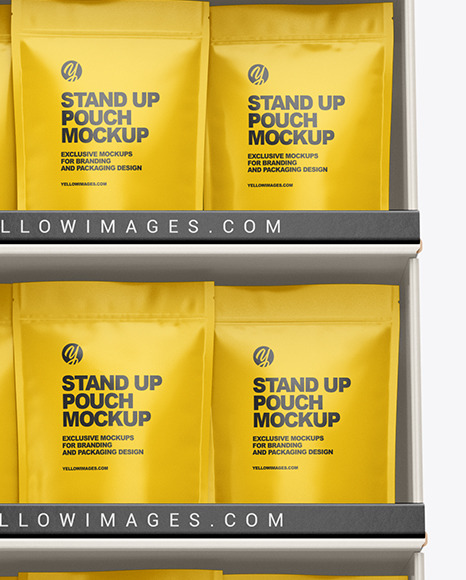 Cardboard Display Stand w/ Pouches Mockup