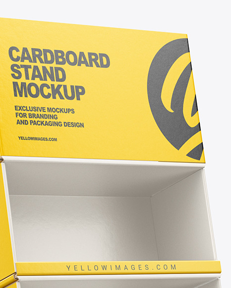 Empty Cardboard Display Stand Mockup