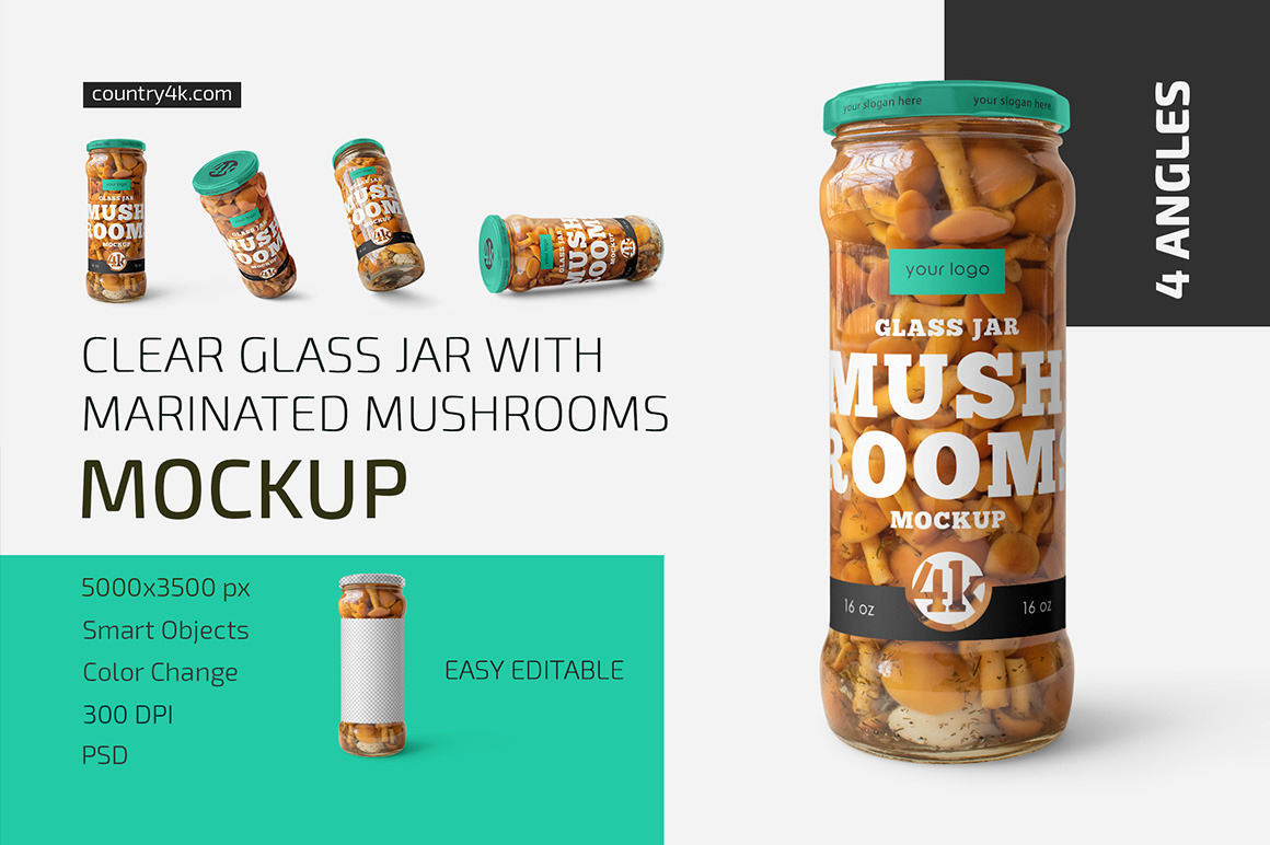 Glass Jar with Mushrooms Mockup Set