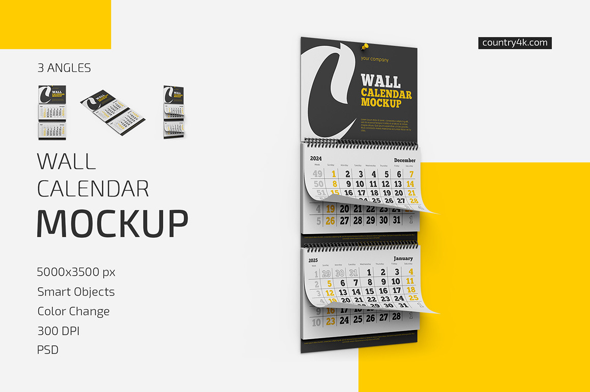 Wall Calendar v03 Mockup Set