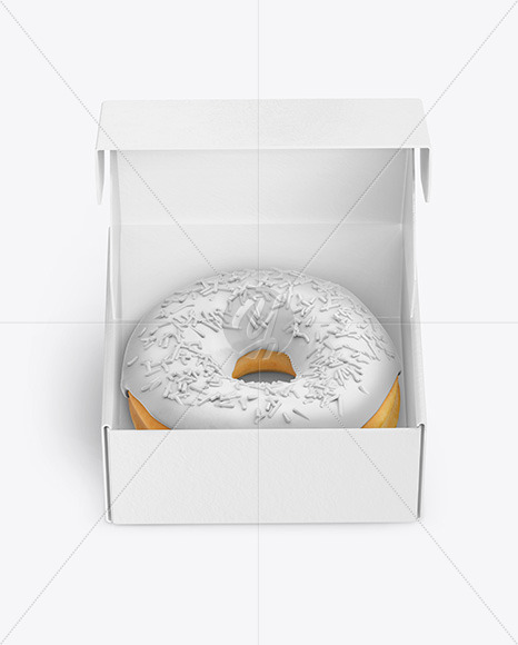 Opened Paper Box with Donut Mockup