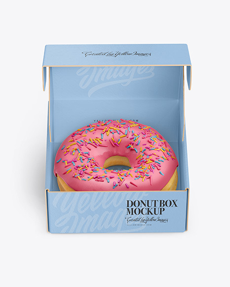 Download Opened Paper Box With Donut Mockup In Box Mockups On Yellow Images Object Mockups