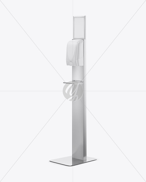 Stainless Steel Disinfection Station on Stand Mockup - Half Side View