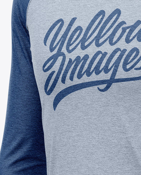 Men's Heather Raglan Long Sleeve T-Shirt Mockup - Half Side View