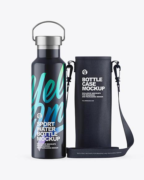 Glossy Water Bottle W/ Case Mockup