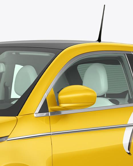 EV Compact Car Mockup - Half Side View