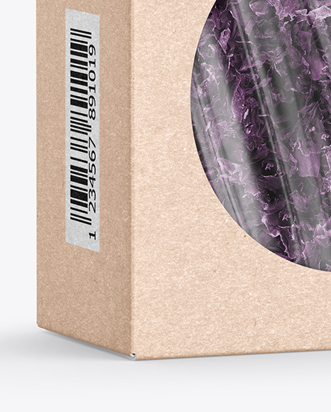 Kraft Paper Box with Seaweed Mockup