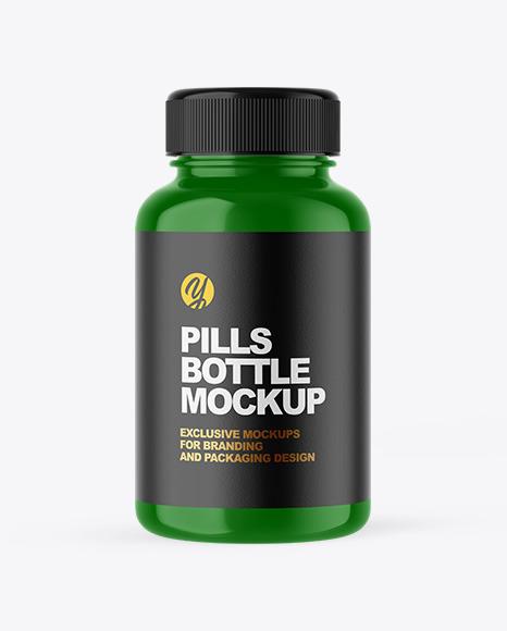Glossy Plastic Pill Bottle Mockup