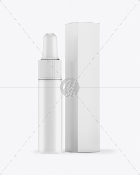 Glossy Dropper Bottle with Paper Box Mockup