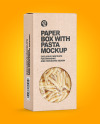 Kraft Paper Box with Penne Rigate Pasta Mockup