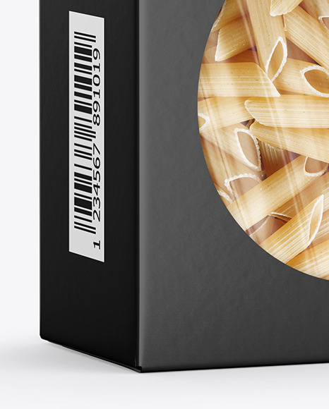 Paper Box with Penne Rigate Pasta Mockup