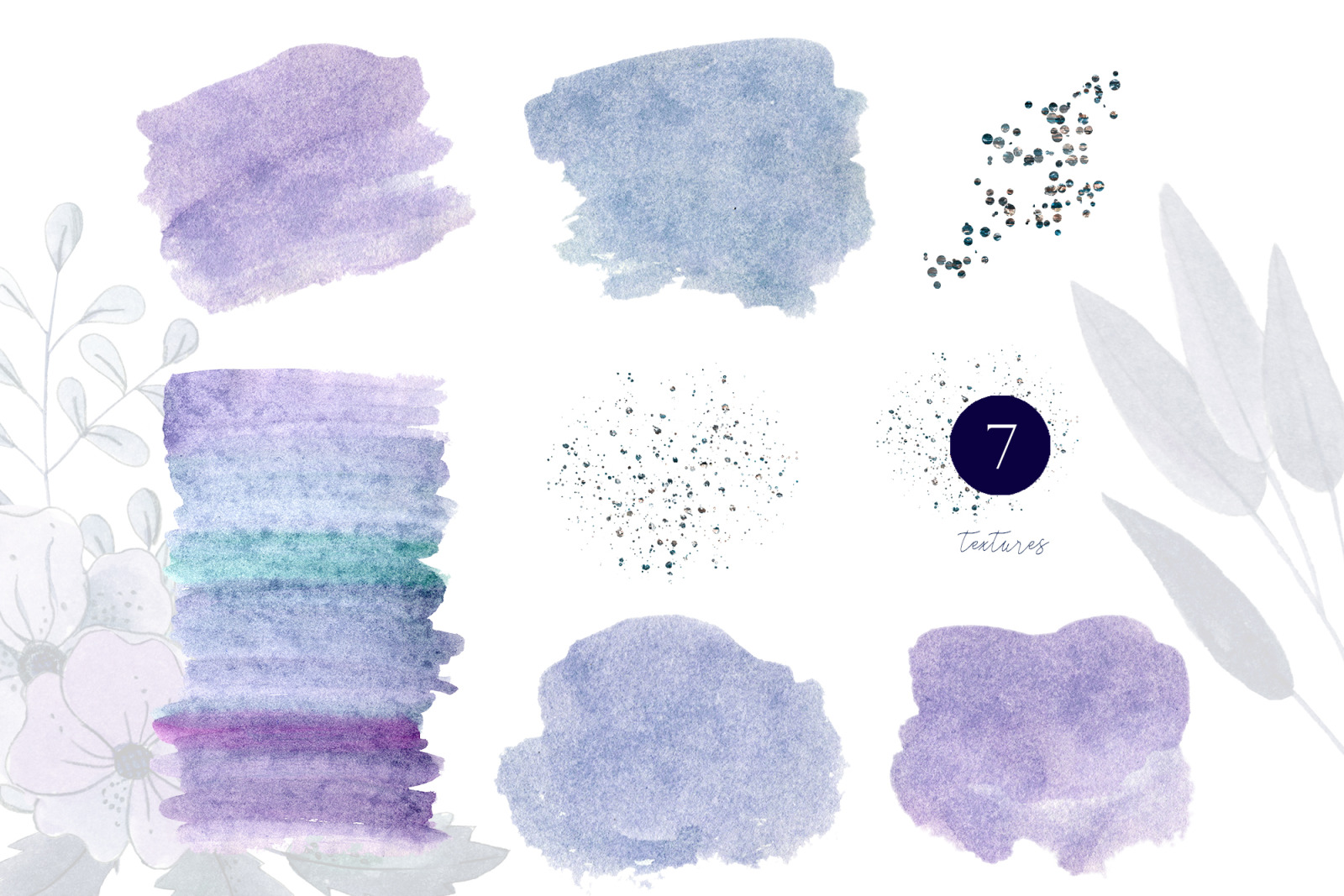 Watercolor dusty blue floral clipart. Blue floral wedding frame clipart. Navy blue wedding invites