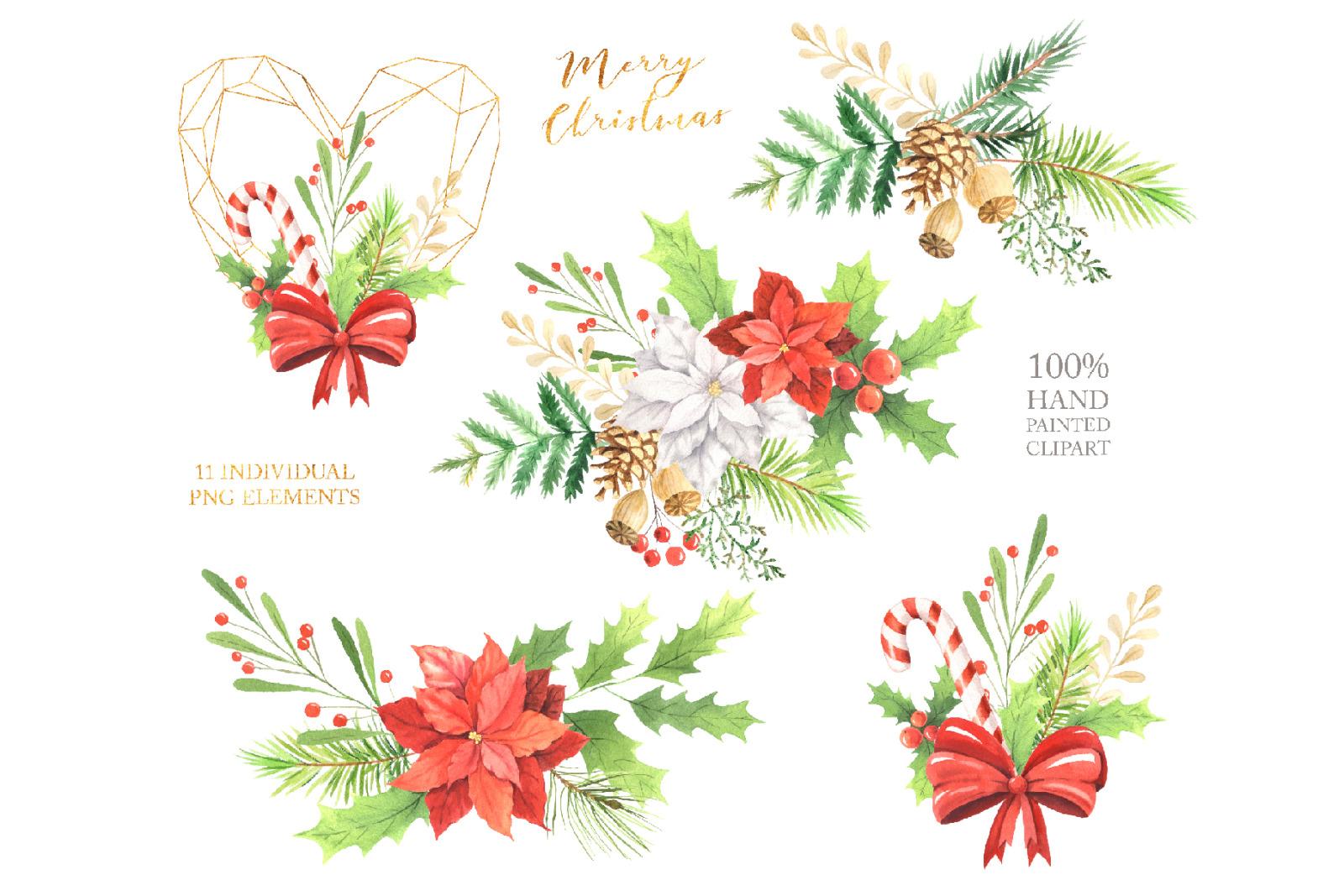 Watercolor Christmas Arrangements Set