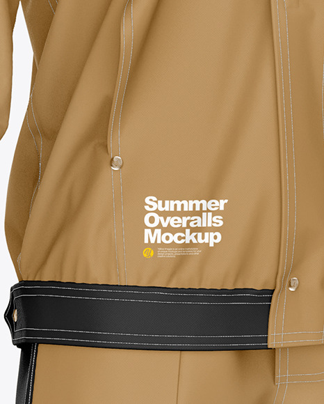 Summer Overalls Mockup – Front Half Side View