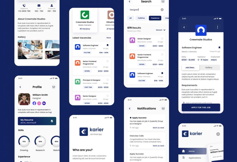 Karier - Job Portal iOS App Design UI Template