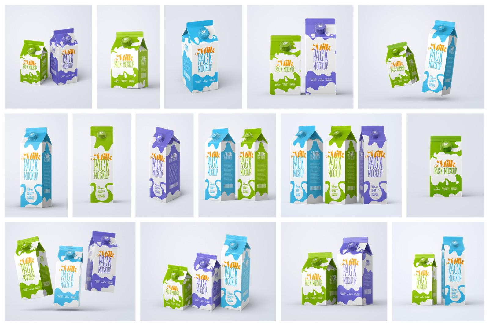 Milk Carton Box Mockup Set   Packaging Design