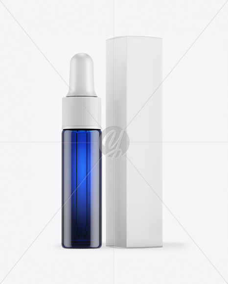 Blue Glass Dropper Bottle with Paper Box Mockup
