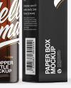 Dark Amber Glass Dropper Bottle with Paper Box Mockup