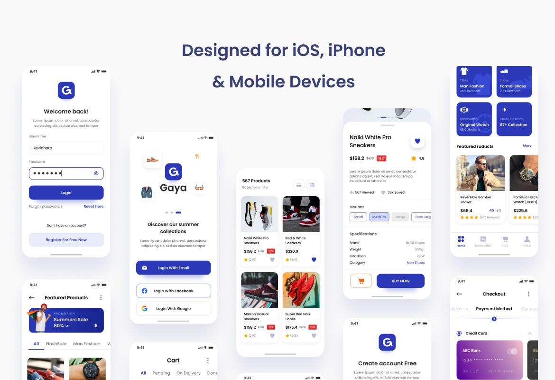 Gaya - Fashion Store iOS App Design UI Figma PSD Template