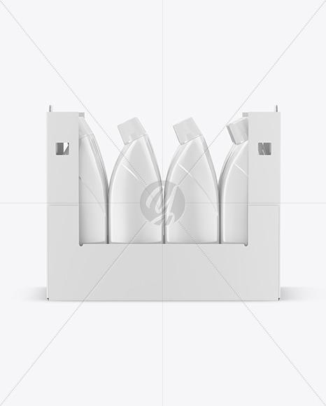 Paper Box W/ Glossy Bottles Mockup