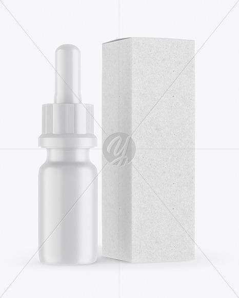 Matte Dropper Bottle with Kraft Paper Box Mockup