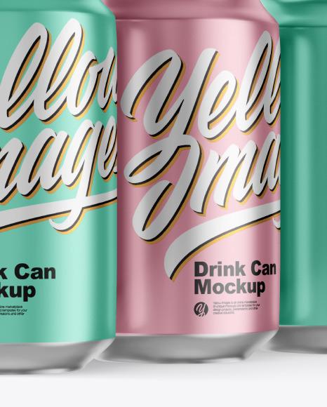 Matte Metallic Drink Cans Mockup
