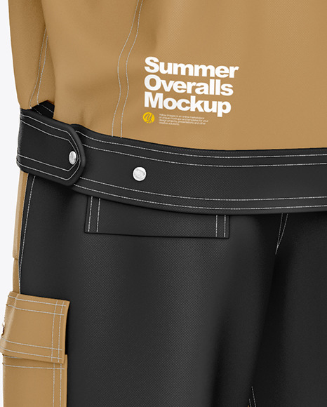 Summer Overalls Mockup – Back Half Side View