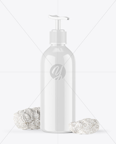 Glossy Cosmetic Bottle with Pump And Coral Sponges Mockup