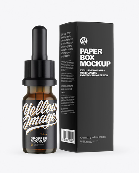 Amber Glass Dropper Bottle with Paper Box Mockup