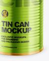 Glossy Metallic Tin Can Mockup