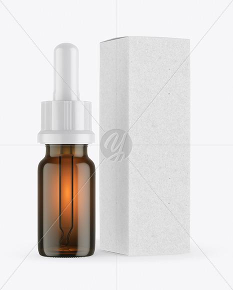 Amber Glass Dropper Bottle with Kraft Paper Box Mockup