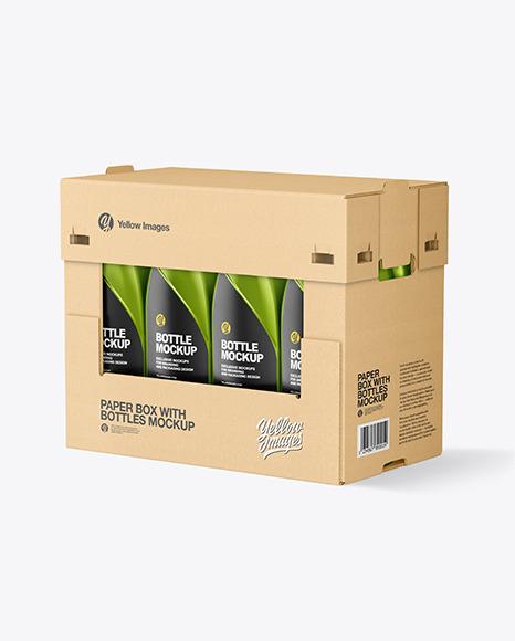 Paper Box W/ Metallic Bottles Mockup