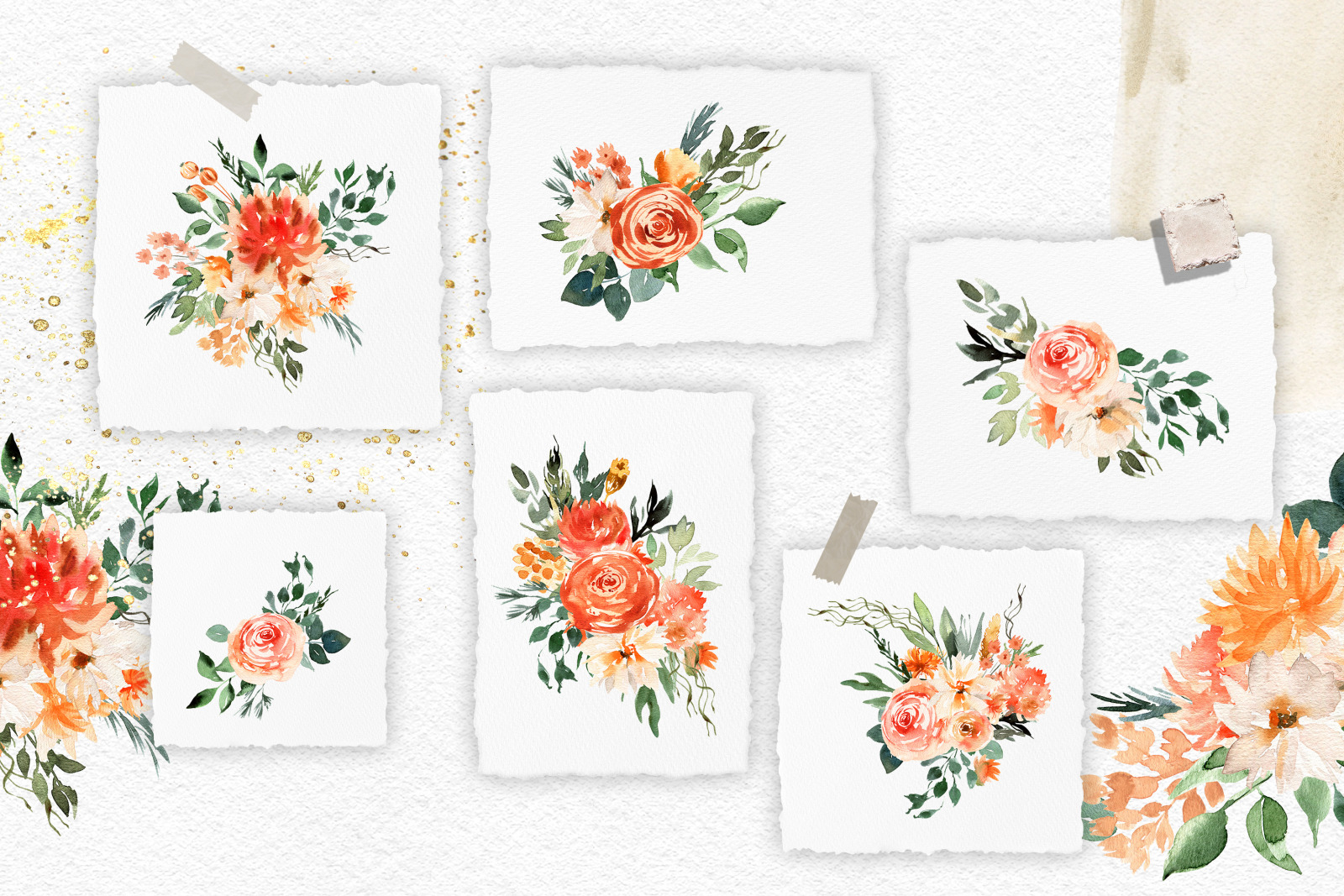Abstract watercolor floral clipart. Boho roses clipart. Peach floral digital clipart Floral bouquet