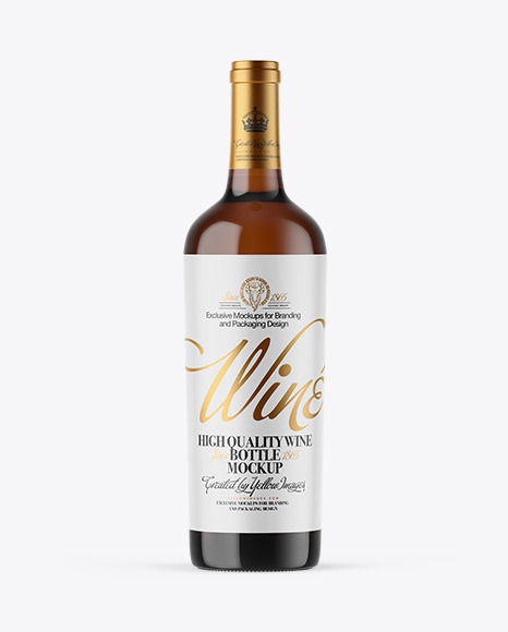 Amber Glass White Wine Bottle Mockup