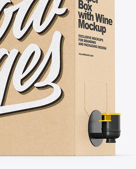 Kraft Paper Box with Wine Mockup