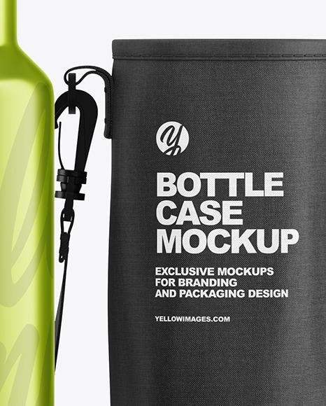 Metallic Water Bottle W/ Case Mockup