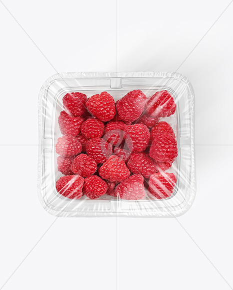 Clear Plastic Tray with Raspberries Mockup