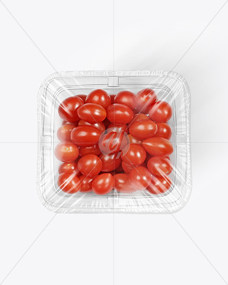 Clear Plastic Tray with Mini Grape Tomatoes Mockup