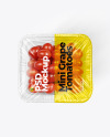 Clear Plastic Tray with Mini Grape Tomatoes Mockup
