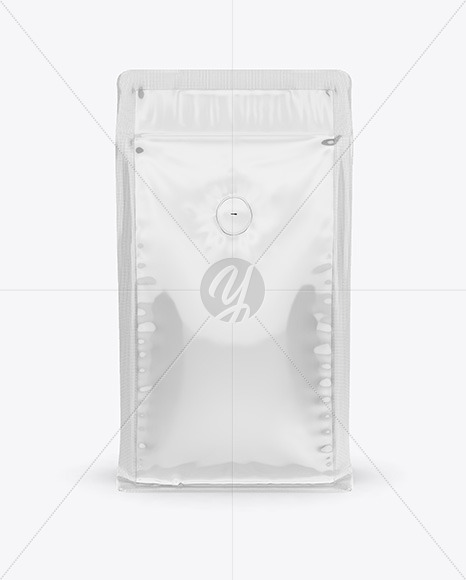 Glossy Coffee Bag with Valve Mockup