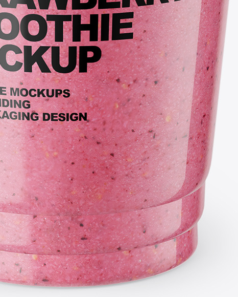 Strawberry  Smoothie Cup with Straw Mockup