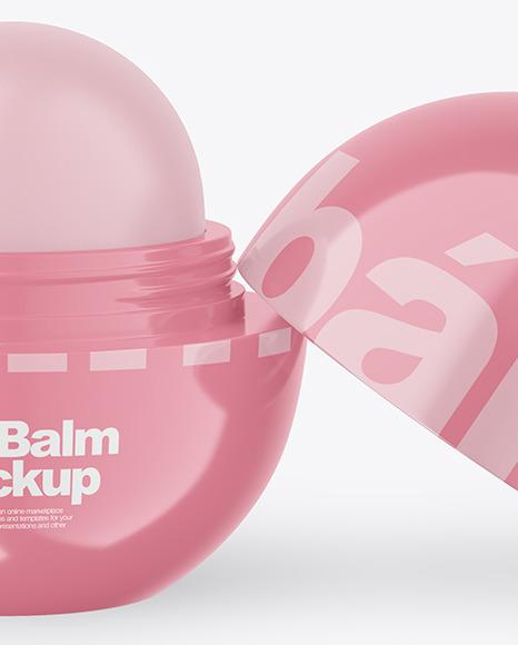 Opened Glossy Lip Balm Mockup