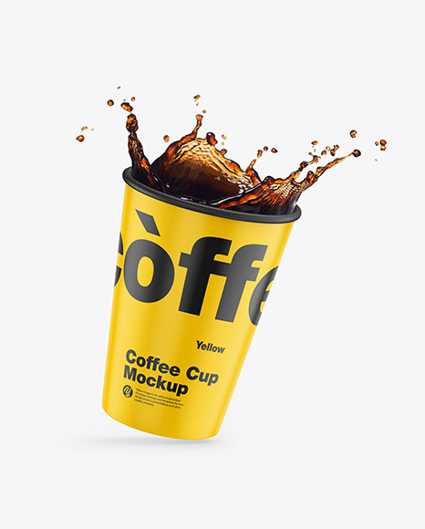 Matte Coffee Cup w/ Splash Mockup