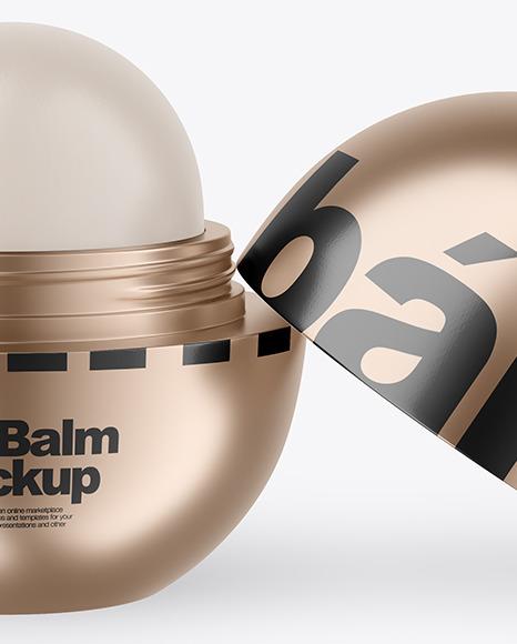 Opened Metallic Lip Balm Mockup