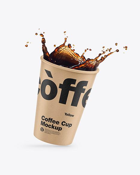 Kraft Coffee Cup w/ Splash Mockup