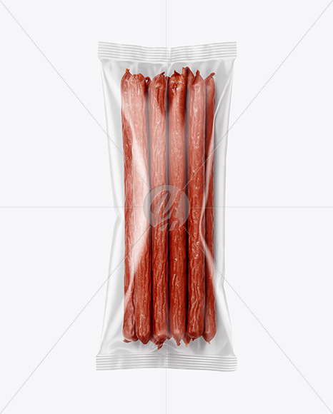 Plastic Bag With Spicy Smoked Sausages Mockup